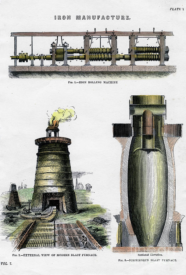 Iron Manufacture, 19th Century Drawing by Print Collector