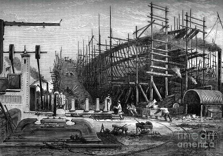 Iron Ship, Messrs Samudas Yard, Isle Drawing by Print Collector