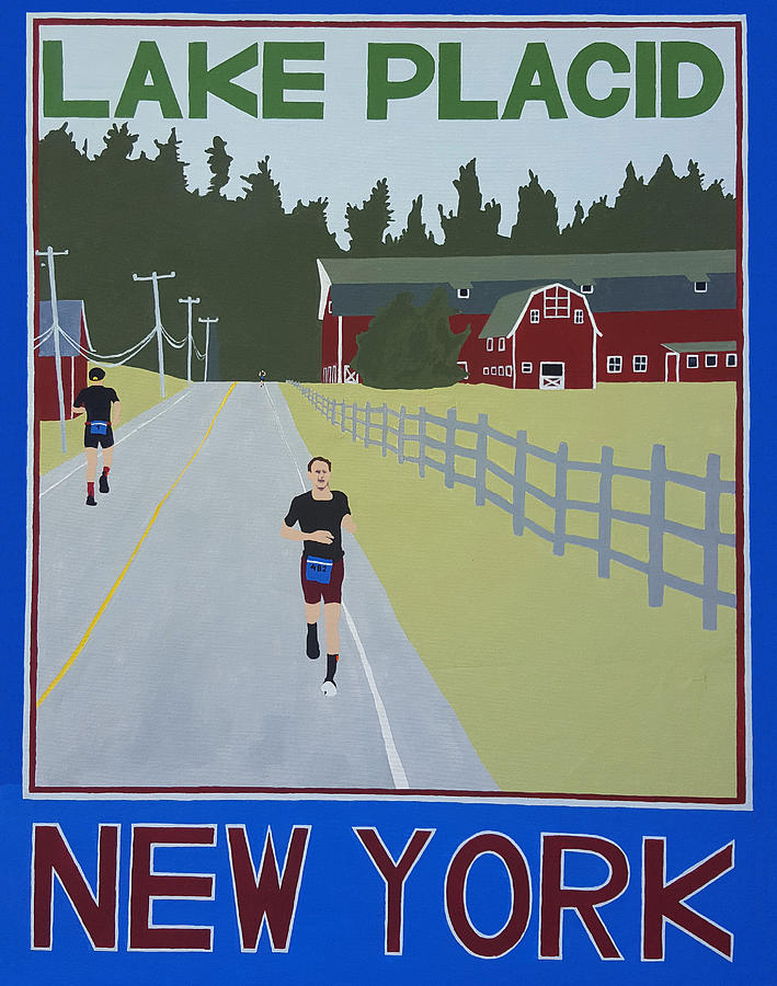 Landscape Painting - Ironman Lake Placid Run Poster by Joanne Orce