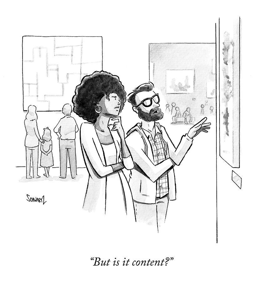 Is It Content Drawing by Benjamin Schwartz