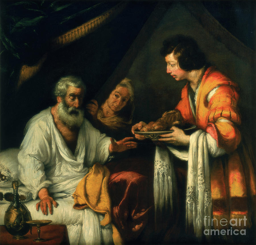 Isaac Blesses Jacob, Early 17th Drawing by Print Collector