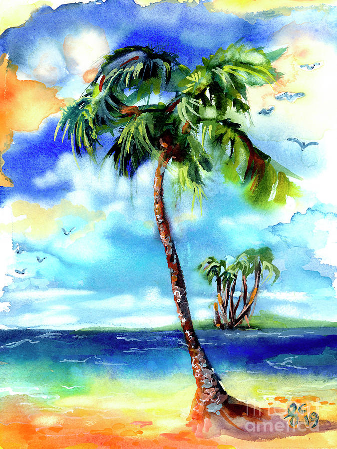 Island Solitude Palm Tree and Sunny Beach by Ginette Callaway