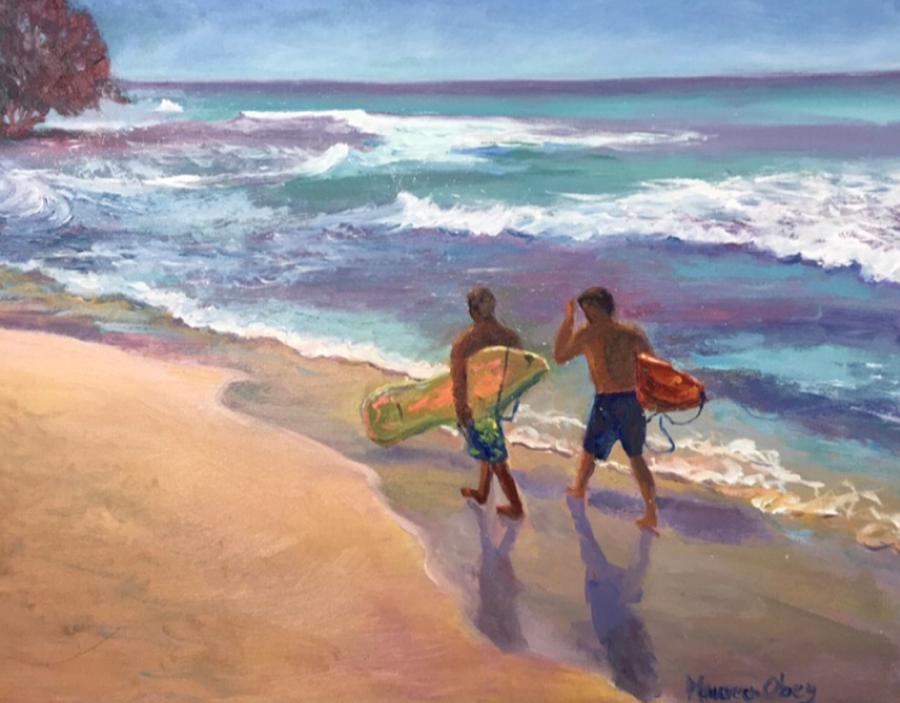 Island Surfers by Maureen Obey