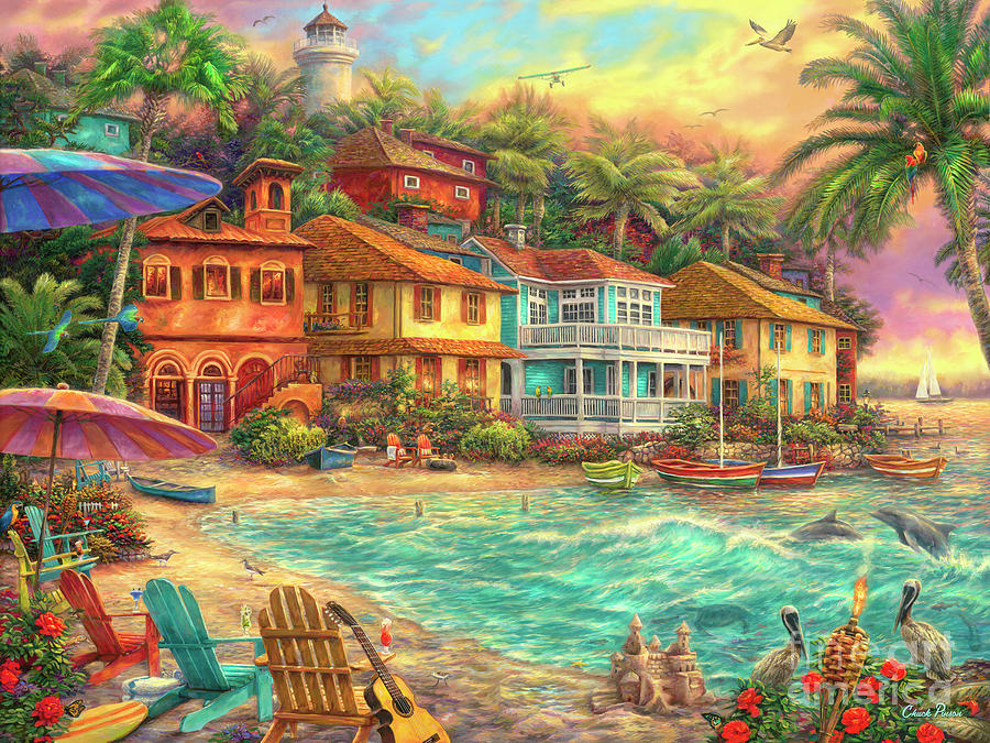 Caribbean Painting - Island Time by Chuck Pinson