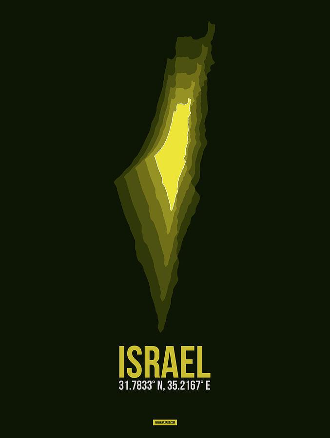 Map Of Israel Digital Art - Israel Radiant Map 2 by Naxart Studio