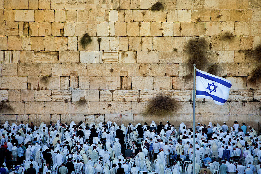 Israeli Flag Flies At The Western Wall Photograph by Gary S Chapman