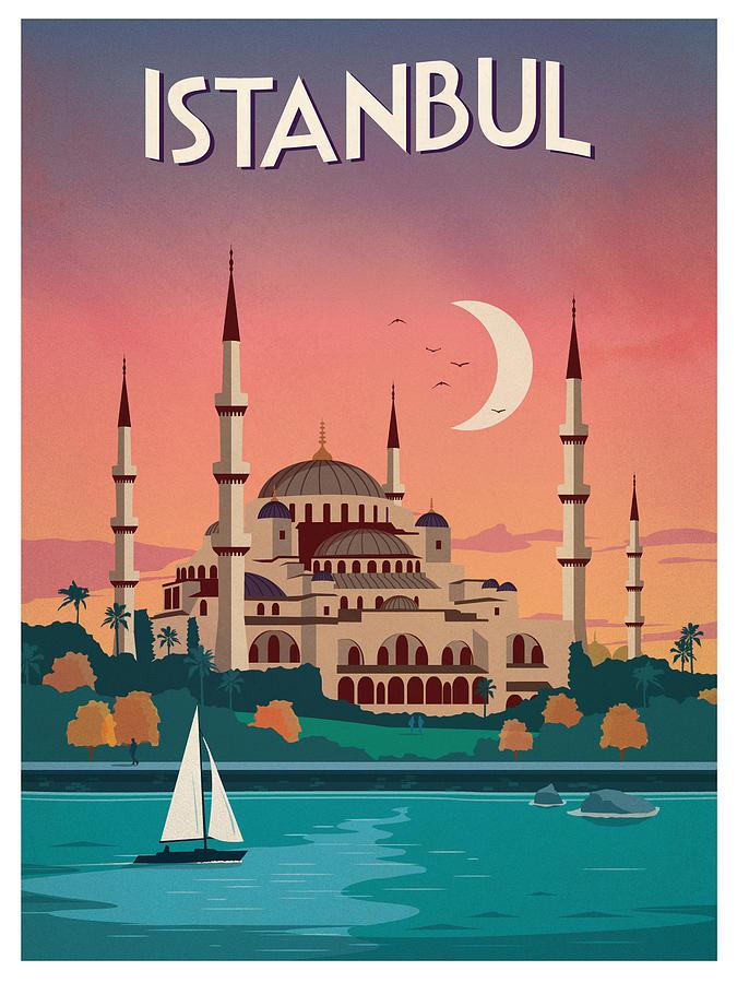 Istanbul, Turkey - Vintage Travel Poster Digital Art by Siva Ganesh