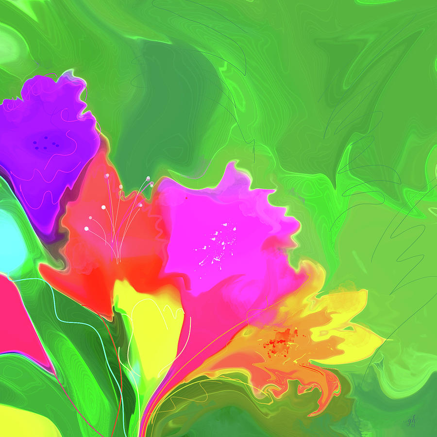 Floral Abstract Digital Art - It Might As Well Be Spring by Gina Harrison