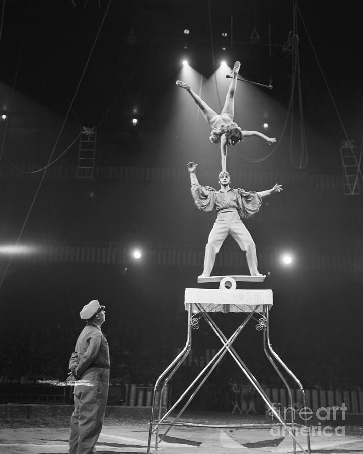Italian Circus Performers Balancing Photograph by Bettmann