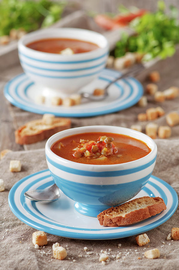 Italian Lentil Soup Photograph by Oxana Denezhkina