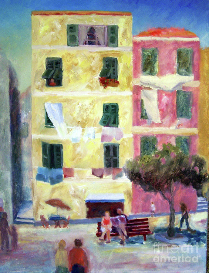 Rome Painting - Italian Piazza With Laundry by Carolyn Jarvis