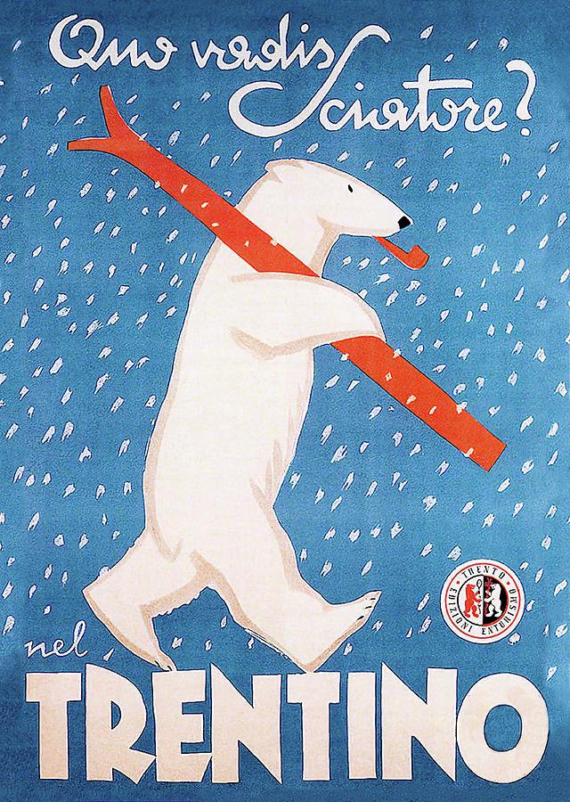 Blue Mixed Media - Italian Polar Bear Ski Poster by Vintage Lavoie
