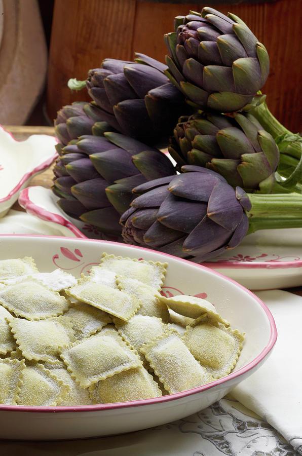 Italian Ravioli Pasta With Artichoke Photograph by Buena Vista Images