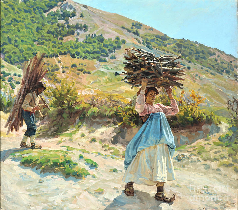 Italians Collecting Firewood Painting