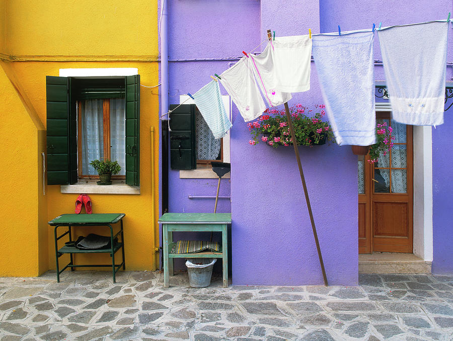 Blue Photograph - Italy, Burano Colorful Buildings by Jaynes Gallery