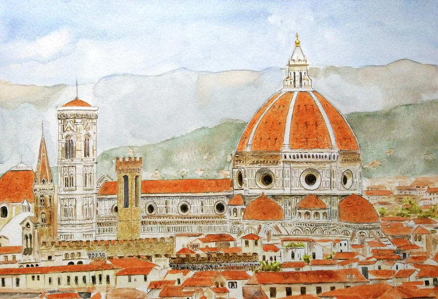 Italy Florence Cathedral Duomo watercolor painting  by Color Color
