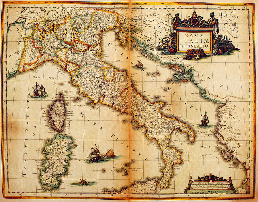 Italy Map 1635 Digital Art by Nicoolay