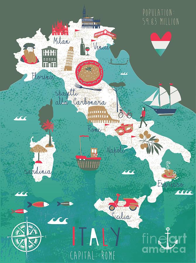 Symbol Digital Art - Italy Map Print Design by Lavandaart