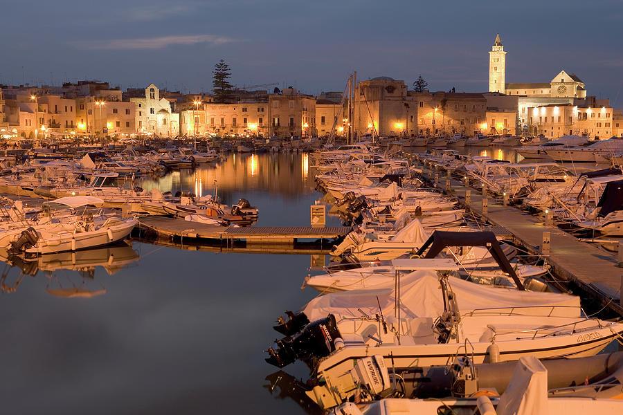 Italy, Puglia, Trani, Boats Docked At Photograph by Peter Adams
