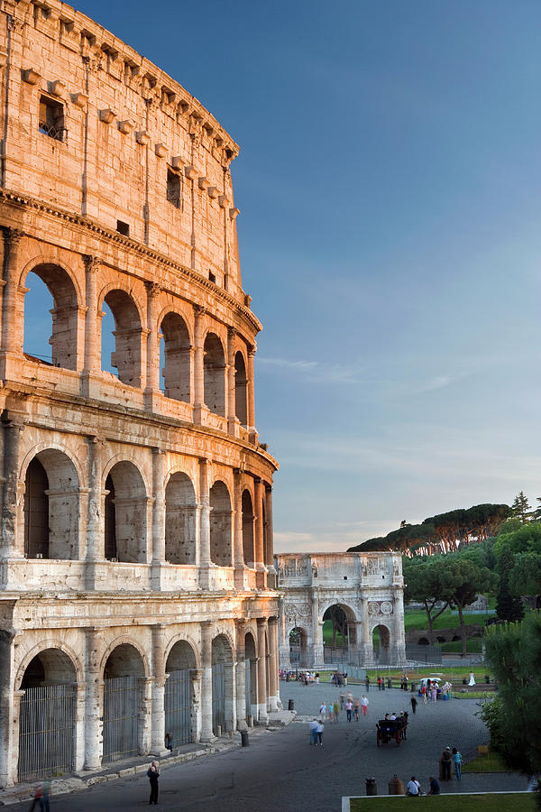Italy, Rome, The Colosseum, Sunset Photograph by Travelpix Ltd