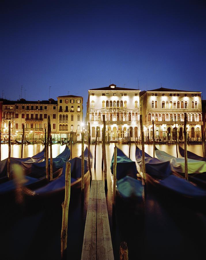 Italy, Veneto, Venice, Row Of Gondolas Photograph by Gary Yeowell