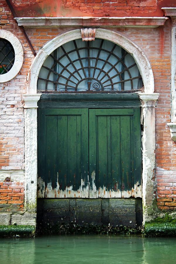 Italy, Venice, Door By Canal Photograph by Alan Bailey