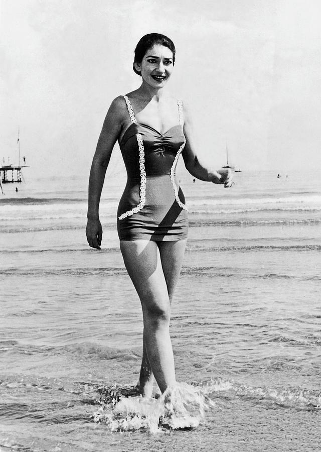 Italy.venice .maria Callas On Lido Photograph by Keystone-france