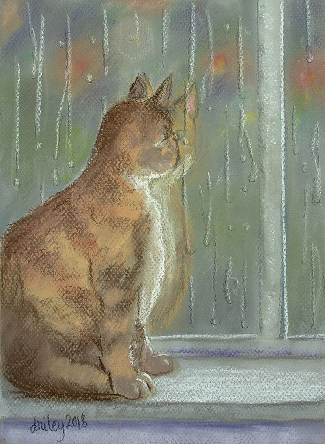 Cat Painting - Its Raining Outside by Dorothy Riley