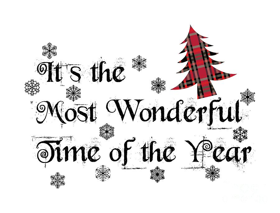It's The Most Wonderful Time Of The Year Art, Shirt, Plaid Christmas Trees Shirt,  by David Millenheft