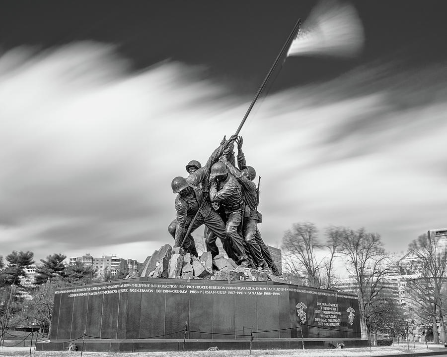 Architecture Photograph - Iwo Jima Marine Corps War Memorial 1 Bw by Jerry Fornarotto
