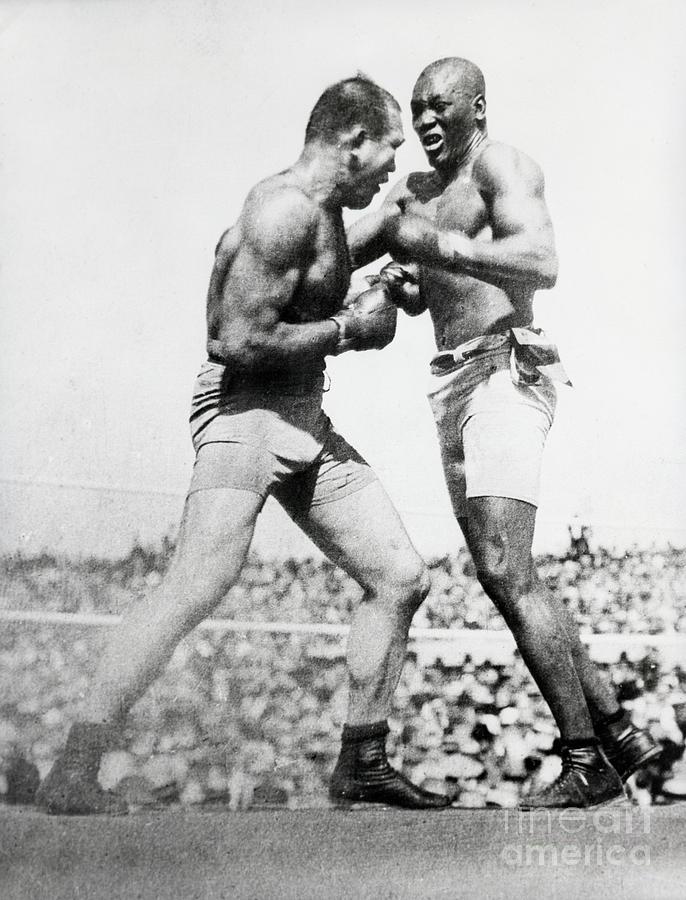 Jack Johnson & Jim Jeffries Boxing Photograph by Bettmann