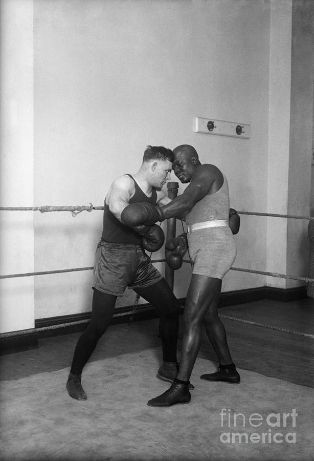 Jack Johnson,floyd Patterson Sparring Photograph by Bettmann