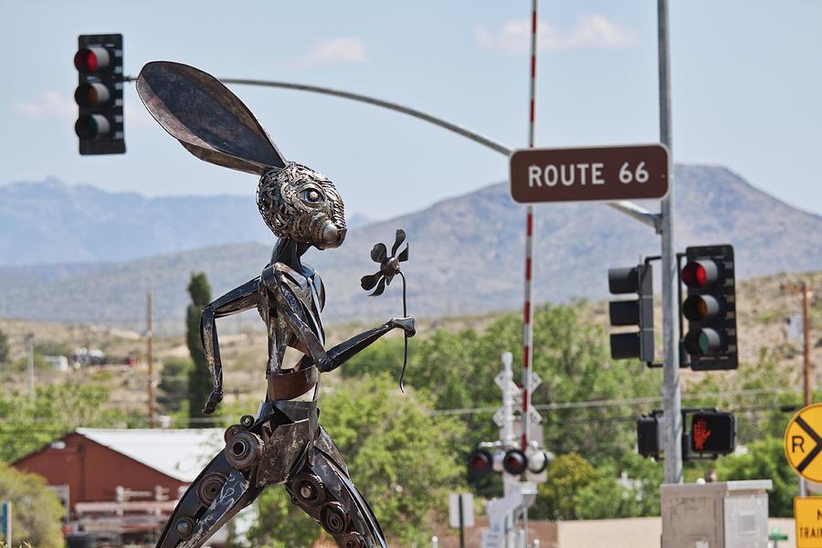Jack rabbit art in Kingman Arizona, on Route 66 by Tatiana Travelways