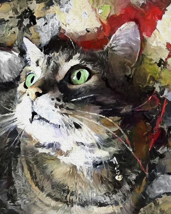Jack the Green Eyed Manx Cat by Peggy Collins