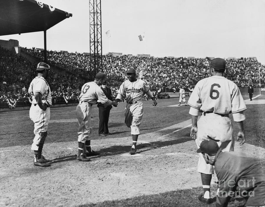 Jackie Robinson After Hitting A Homer Photograph by Bettmann