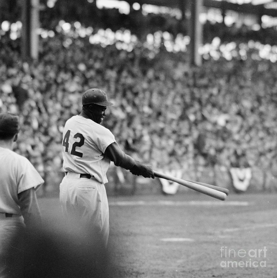 Jackie Robinson At 1955 World Series Photograph by Robert Riger