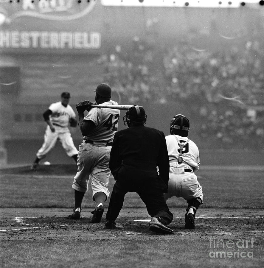 Jackie Robinson At Bat Against Pitcher Photograph by Robert Riger