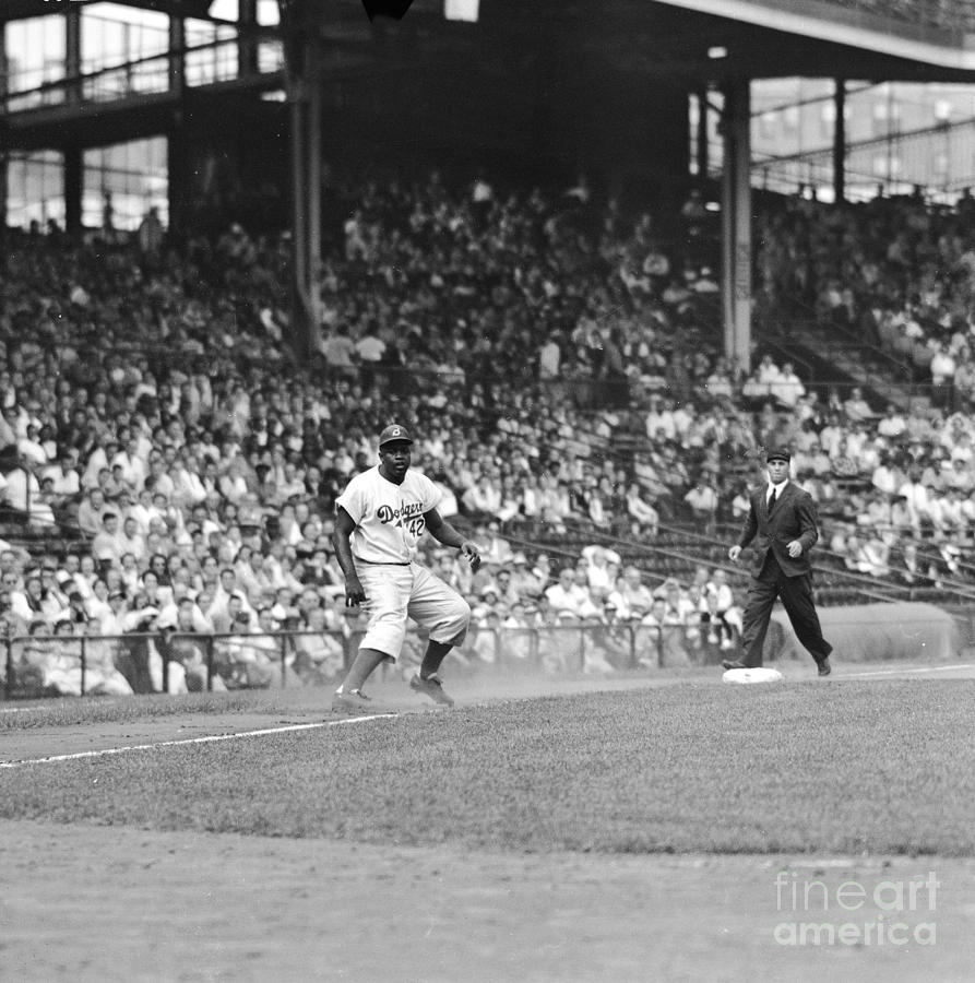 Jackie Robinson At Ebbets Field, 1956 Photograph by Robert Riger