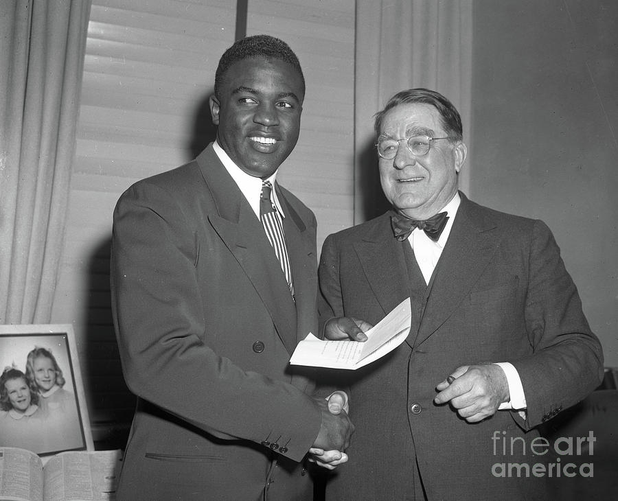 Jackie Robinson Signs Contract B Photograph by Transcendental Graphics