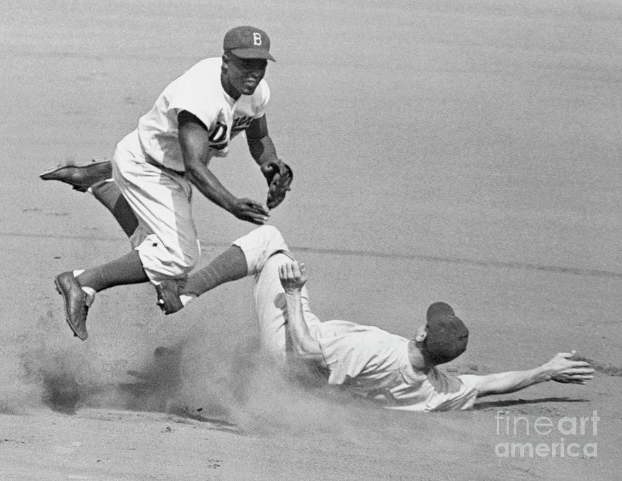 Jackie Robinson Trying For Double Play Photograph by Bettmann