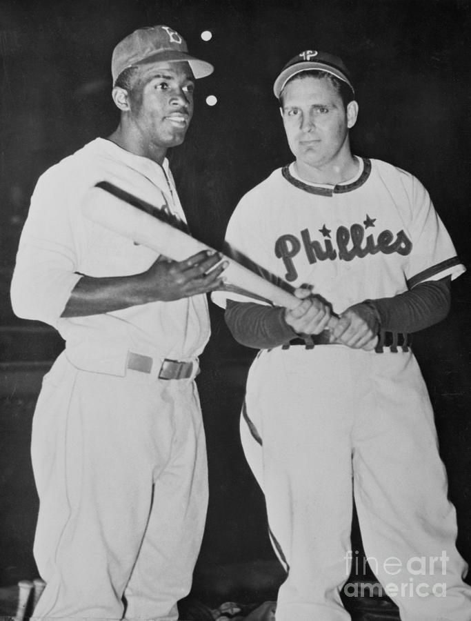 Jackie Robinson With Ben Chapman Photograph by Bettmann