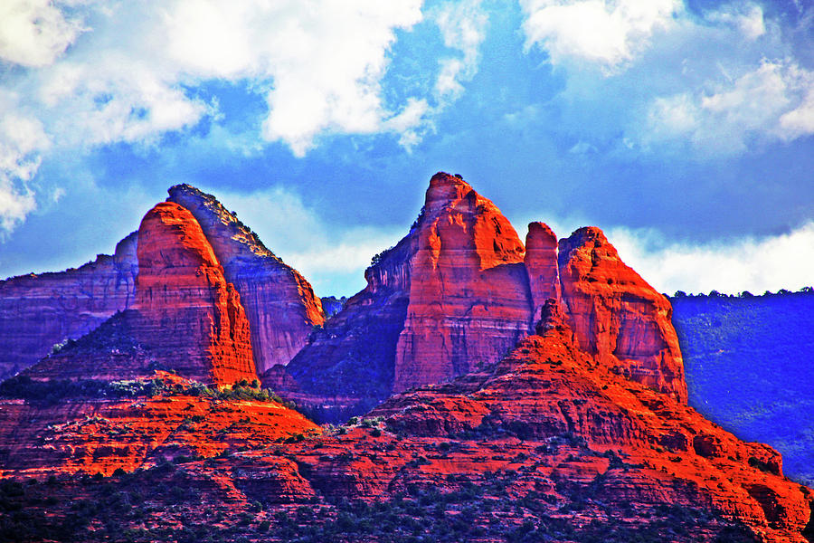 Jacks Canyon Village Of Oak Creek Arizona Sunset Red Rocks Blue Cloudy Sky 3152019 5080  Photograph by David Frederick