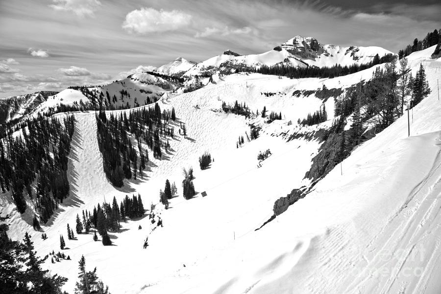 Jackson Hole Mogul Chutes Black And White by Adam Jewell