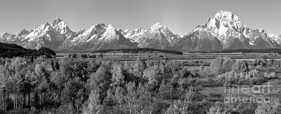 Jackson Lake Overlook Fall Panorama Black And White by Adam Jewell
