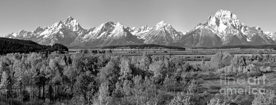 Jackson Lake Overlook Panorama Black And White by Adam Jewell