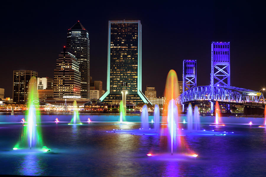 Jacksonville Florida Skyline At Night Photograph by Pgiam