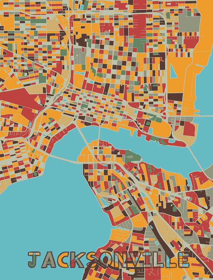 Jacksonville Map Retro Digital Art