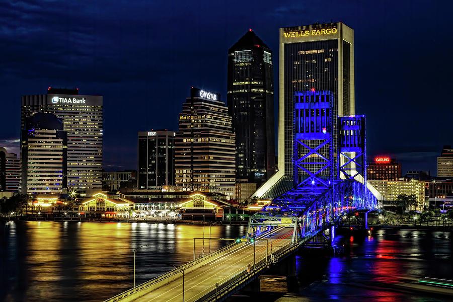 Jacksonville Nighttime Skyline by Kay Brewer