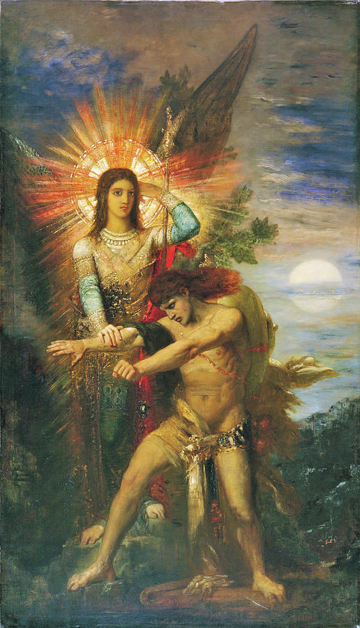 Gustave Moreau Painting - Jacob And The Angel - Digital Remastered Edition by Gustave Moreau
