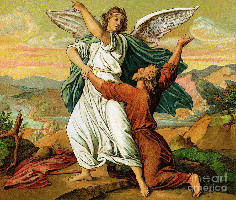 Jacob Photograph - Jacob Wrestiling With The Angel  by English School